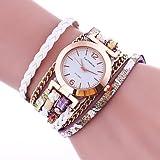 Fashion Watches Schöne Uhren, Damen Armband-Uhr Quartz Mehrfarbig Leder Band Bettelarmband Schwarz Weiß Blau Rot Braun Grün Gold Rosa (Farbe : Weiß)