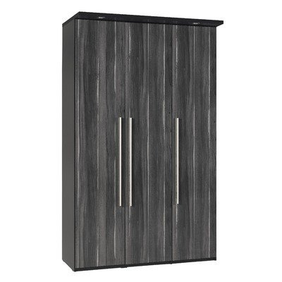 Argento Three Door Wardrobe in Black and High Gloss Black Walnut