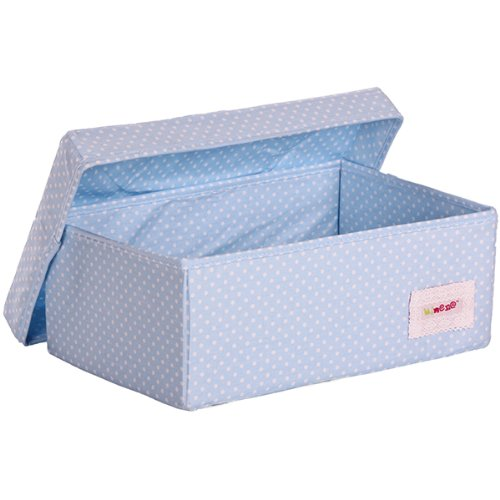 Minene 1514 - Caja de tela pequeña, diseño topitos, color azul claro
