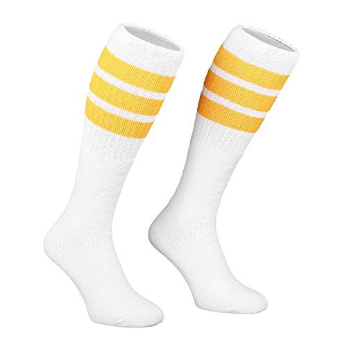 Preisvergleich Produktbild Skatersocks 22 Inch Unisex Tube Socken oldschool weiß gelb gestreift