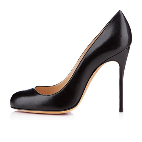 uBeauty Escarpins Femmes Chaussures Stiletto Bout Rond Talon Aiguille Grande Taille Noir PU