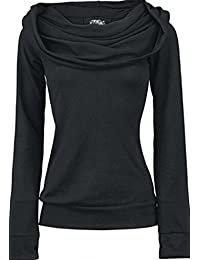 crazycatz Women Gothic Back Lace Up Black Hoodie Sweatershirt Long Sleeve Top