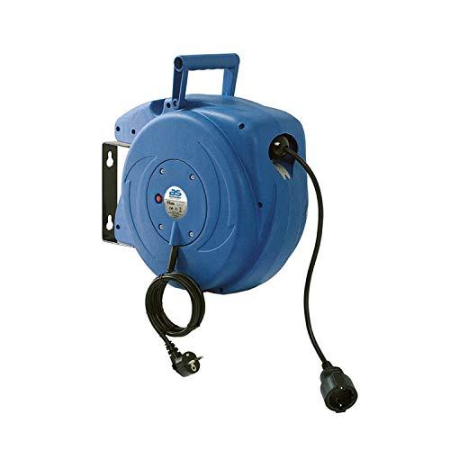 as - Schwabe Automatischer Kabelaufroller für den Innenbereich - 15 m Kupplungsleitung & 1,5 m Steckerzuleitung - 230 V / 16 A robuste Kabeltrommel mit Aufrollautomatik - IP20 - Blau I 12611