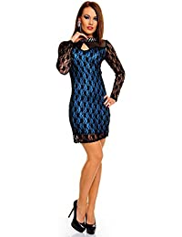 New Women's Lace Dress Long sleeve Blue Net Evening Cocktail Mini Dress With a Black knitted High neck Studds on a blue background Cocktail Party Full net Lace Bodycon Dress Size 10 uk