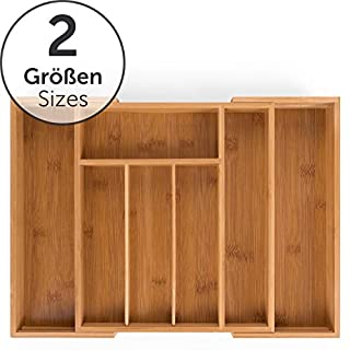 Blumtal Bamboo Cutlery Tray for Drawer - Adjustable Organiser (29-45.5 x 33 x 5cm) Drawer Divider, 5 to 7 Segments
