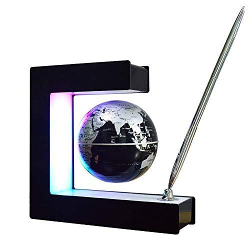 MYY LED Steigungsrampe Licht Anti Schwerkraft Schwebe Magnetisch Aussetzen Globus Weltkarte Quadratischer Rahmen Dekorative Tischlampe Rotierende Kugel Schreibtischdekoration