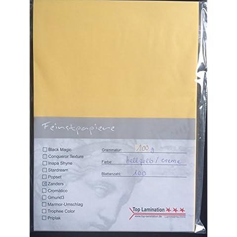 100hojas de papel DIN A3transparente Zanders Spectral Crema/amarillento. 100g/m² de Top Lamination–Excelente traspaso, muy buena calidad, para invitaciones, tarjetas de visita, plantilla hojas para álbumes, tarjetas de boda, Póster, manualidades y mucho más