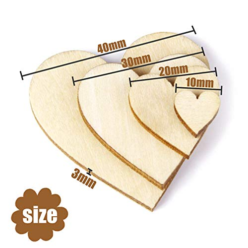 300 Pcs Wooden Heart Embellishments, Small Wooden Craft Hearts Shape Confetti for DIY Crafts, Wooden Hearts for Crafting Christmas Wedding Birthday Party Holiday Decoration (Size: 1cm 2cm 3cm 4cm)