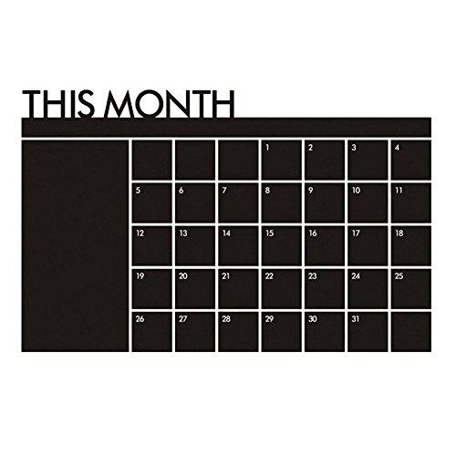 Wandsticker - TOOGOO(R) Neu Abnehmbar Monatsplan Kalender MEMO Sticker Wand-Aufkleber Wandsticker Schwarz