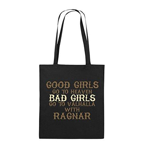 Comedy Bags - Good girls go to heaven bad girls go to valhalla - Jutebeutel - lange Henkel - 38x42cm - Farbe: Natural / Hellbraun-Dunkelbraun Schwarz / Hellbraun-Beige