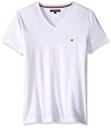 Tommy Hilfiger Herren T-Shirt Core Stretch Slim Vneck Tee, Weiß (Bright White 100), Medium (Stretch-baumwolle Tee V-neck)