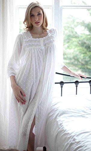 Cottonreal 100% Cotton Lawn Jaquard Polka Dot Button Nightdress - XS to XXL  - White dd74e43a6