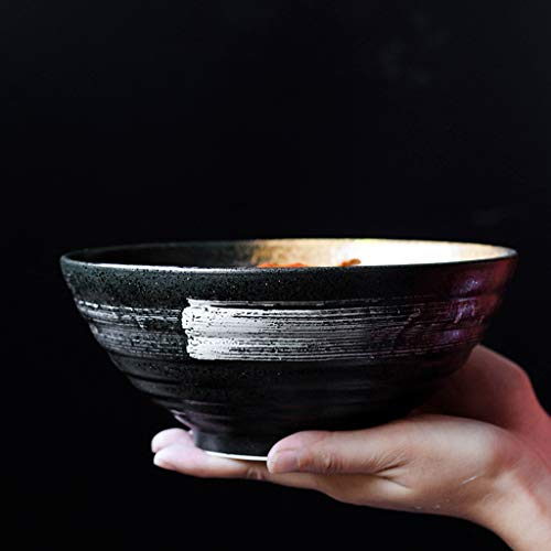 lschüssel Reisschüssel Chinesischen Stil Suppenschüssel Peeling Ramen Schüssel Keramik Geschirr Sichere Verwendung 900 Ml Hohe Kapazität,Black,20 * 8.3cm ()