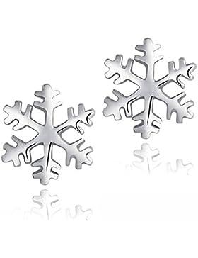Celebrity Jewellery 925 Sterling Silber Schneeflocke Frozen Edelweiss Ohrstecker für Damen Geschenk