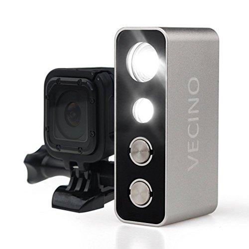 VECINO Action Video LED Lampe Tauchlampe Taucherleuchte 600lm, bis 60m Tiefe, wiederaufladbar, passend für GoPro und andere Action Kameras