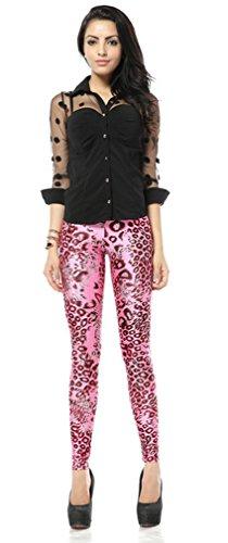 Belsen Femme Deadpool série Leggings élasticité crayon Pantalon Pink Leopard