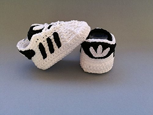 Crochet Pattern Baby Adidas Superstar, baby sneakers, baby shower, booties, shoes (English Edition)