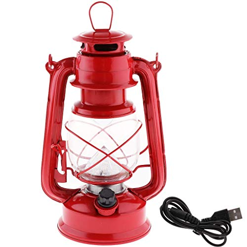 Tubayia Vintage Öllampe Stil Sturmlaterne Dimmbare LED Campinglampe Laterne für Notfall, Camping (Rot)