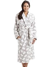 Robe de chambre très douce - polaire - fabrication au Royaume-Uni - femme/enfant - imprimé ours couleur vison