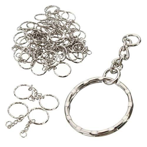 Yongse 50Pcs 55mm Schlüsselanhänger Rohlinge Silber Ton Schlüsselanhänger Schlüsselanhänger Split Ring 4 Gliederkette