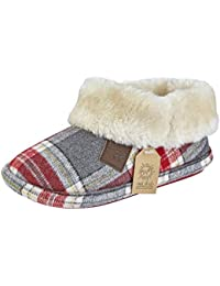 05dcfe9e63d8 Jo   Joe Ladies Faux Suede Sheepskin Fur Collar Fleece Lined Warm Luxury Bootee  Slippers Size
