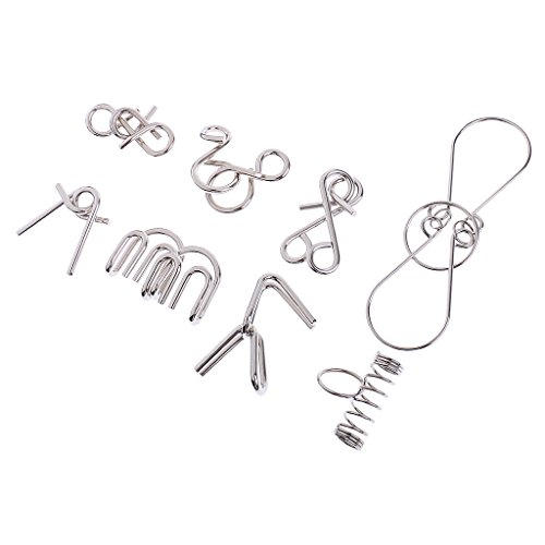 MagiDeal 8Pcs/Set Metal Wire Ring Puzzles IQ Mind Training Intelligence Toys for Kids