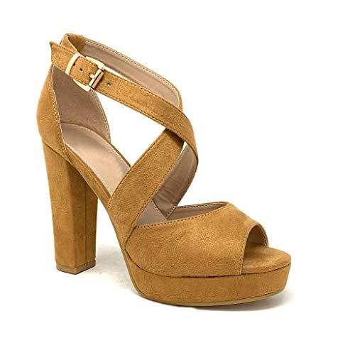 Camel High Heels (Angkorly - Damen Schuhe Sandalen Pumpe - High Heels - Plateauschuhe - Ehe Zeremonie - gekreuzte Riemen - Basic - Basic Blockabsatz high Heel 11.5 cm - Camel B-88 T 38)