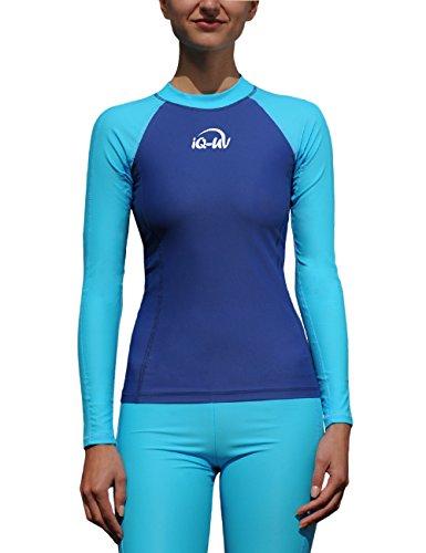 IQ UV Schutz Shirt Damen UV-Schutz Schwimmen Tauchen, mehrfarbig (Turq-Navy), M