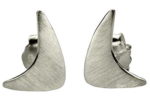 SILBERMOOS Damen Ohrstecker Boomerang Dreieck matt Sterling Silber 925 Ohrringe