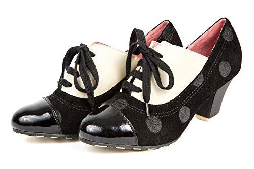 Lola Ramona Damen Pumps Vintage Schuhe Schnürpumps Schwarz Weiß gepunktet