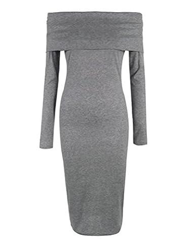 SunIfSnow - Robe spécial grossesse - Moulante - Uni - Manches Longues - Femme - gris - Medium