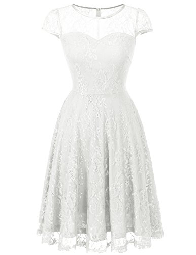 Dresstells Brautjungfernkleid Cap Sleeves Kleid Aus Spitzen Spitzenkleid Knielang Abendkleid White 3XL -