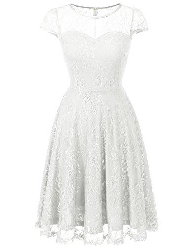 Dresstells Brautjungfernkleid Cap Sleeves Kleid aus Spitzen Spitzenkleid Knielang Abendkleid White 3XL (White Cap Sleeve Dress)