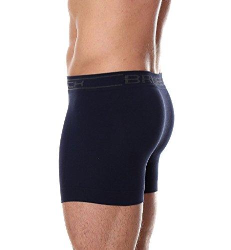 3x Brubeck Herren Smooth Skin Boxer Shorts Slips nahtlos ( Herren Unterwäsche Sport Funktionswäsche Boxershorts; PerfectFit; Premium Qualität) Navy / A