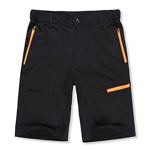 Fitsund Herren MTB Shorts Schnell Trockend Kurze Fahrradhose Multifunktion Sport Hose ohne Sitzpolster ( Schwarz )