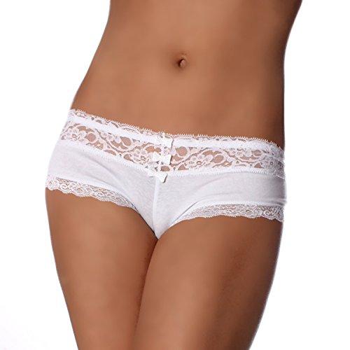 6er Pack Damen Pantys in VIELEN VERSCHIEDENEN FARBEN Unterwäsche Hot Pants Dessous Hipster Boxershorts mit Schleife und Spitze Weiß