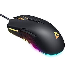 Aukey RGB-Gaming-Maus, FPS-Maus mit 5000 Real DPI, 6 programmierbare Tasten, Multicolor-Hintergrundbeleuchtung, ergonomisches Design, hochpräzise optische Gaming-Maus für professionelle Gamer, schwarz