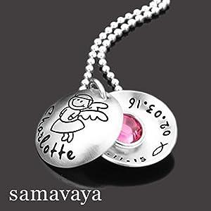 Taufkette mit Gravur SCHUTZENGELCHEN 2.0 925 Silberkette Taufschmuck für Mädchen Taufgeschenk