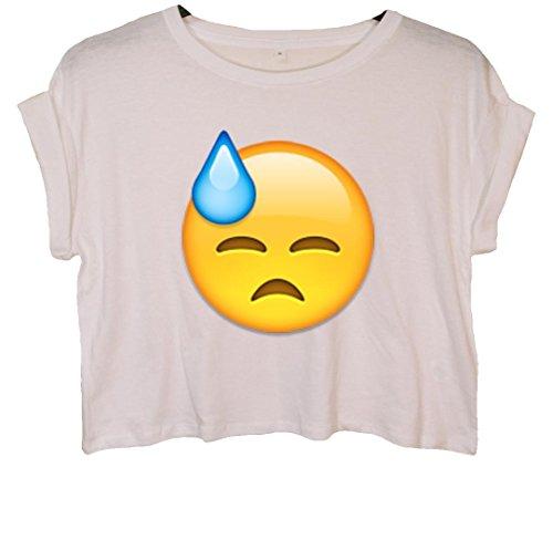 Sad Sweat Face Emoji Crop Top Weiß