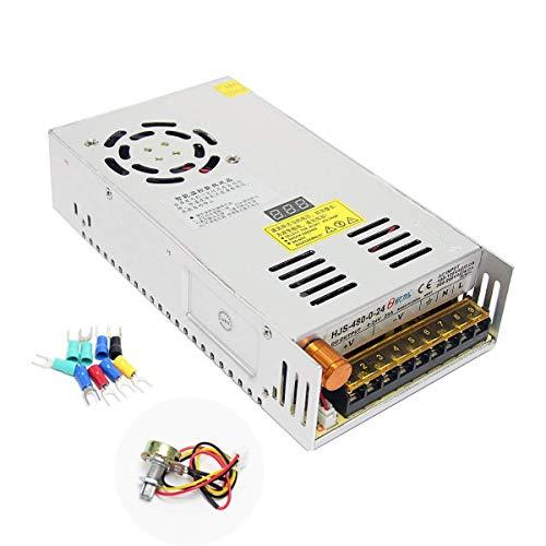 Wisamic Trafo Einbautrafo Netzteil Transformator Adapter Netzteil Schaltnetzteil Stromversorgung AC 110-220V/DC 0-24V 20A 480W für LED Beleuchtung (Mit dem Digitalen Display) 24 Volt 20 Amp