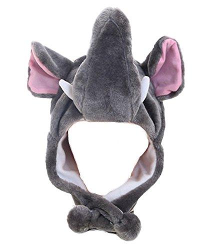 Mädchen Kinder Winter Warm Plüsch Tier Ohrenschützer Hüte Mützen Weihnachten Halloween Kostüm Geschenk Elefant ()