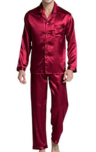 Herren Schlafanzug Pyjama Set Satin Nachtwäsche mit Langen Ärmel Loungewear (Burgund, XXL) - Burgund-polyester-gewebe