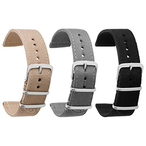 Nylon Uhrenarmband 18mm Uhrenarmbänder Uhrenarmbänder für Männer Frauen Premium Nylon Armband 18mm 3 Pack