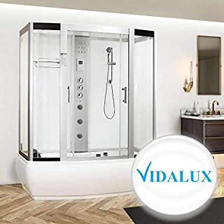 Vidalux Aegean 1700 x 900 Luxury Whirlpool Jacuzzi Steam Shower with AirSpa - White Glass