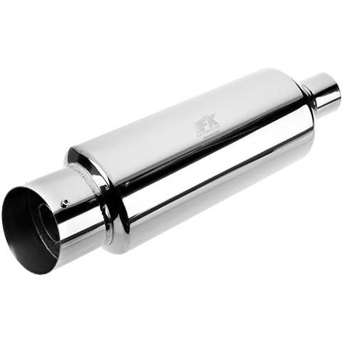 FK Automotive FKDDUI011001 - Silenciador deportivo universal (tubo de escape redondo, 101mm), color cromo