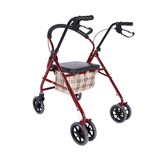 Medical Roll Walker Faltbare, Drive Rollator Walker mit Sitz, 4 Räder Mobilität Gehhilfen Doppelbremssystem, benutzt für Senioren Wandern,Red -