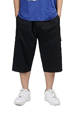 Minces hommes loisirs engrais pantalons cargo recadrée salopettes gros homme pantalon en vrac plus la taille Black XL