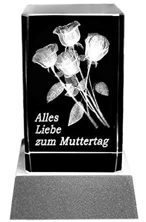 Kaltner Präsente Bloc de verre 3D Laser en cristal avec illumination LED et inscription en allemand (Bonne fête Maman) Motif roses