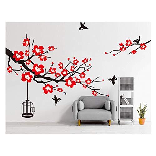 Demana Wandaufkleber Pflaumenblüte mit Elster Abnehmbare DIY Wandsticker Wandtattoo für Sofa TV Hintergrund Dekoration Wohnzimmer Schlafzimmer(Schwarzer Baum + rote Blume)