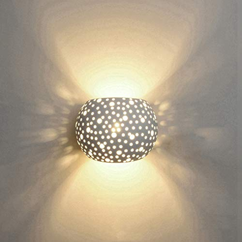 Applique lampada da parete led 5w gesso lampada da intonaco design moderno su e giù apparecchi di illuminazione da parete per interni forma a sfera rotonda bianco caldo (include lampadine g9)